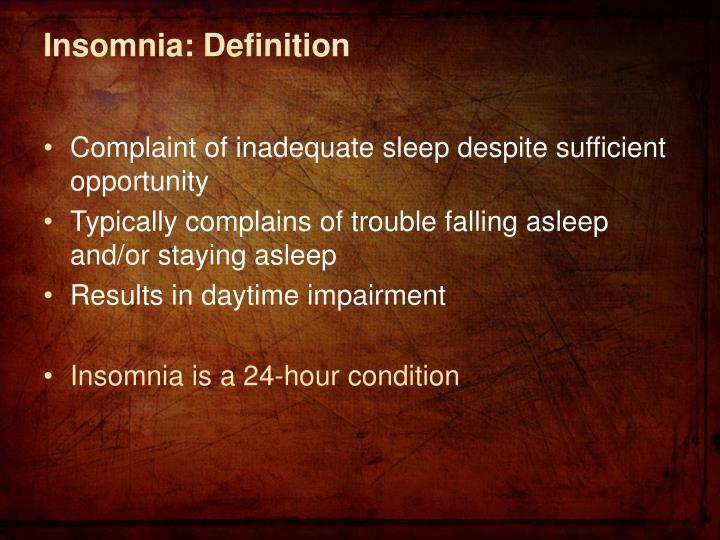 Insomnia: Definition