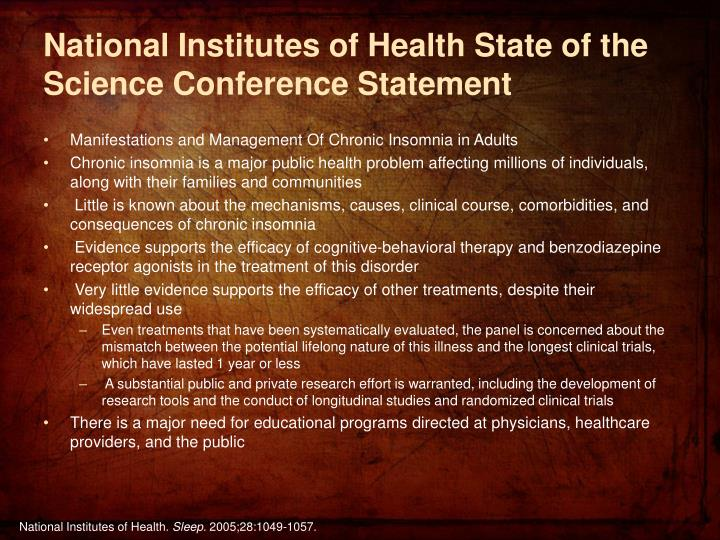 National Institutes of Health State of the Science Conference Statement