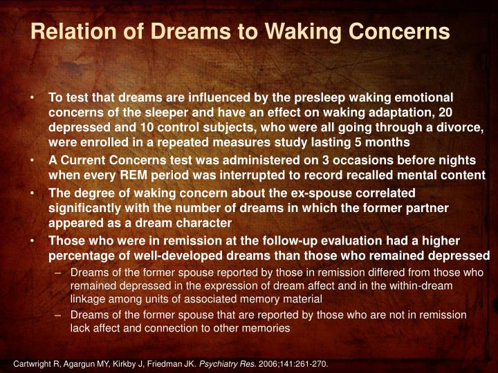 Relation of Dreams to Waking Concerns