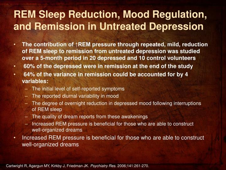 REM Sleep Reduction, Mood Regulation, and Remission in Untreated Depression