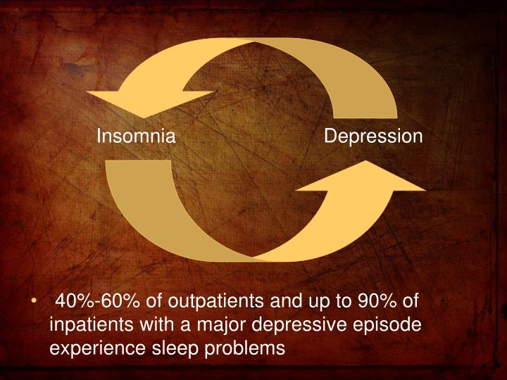 40%-60% of outpatients and up to 90% of inpatients with a major depressive episode experience sleep problems