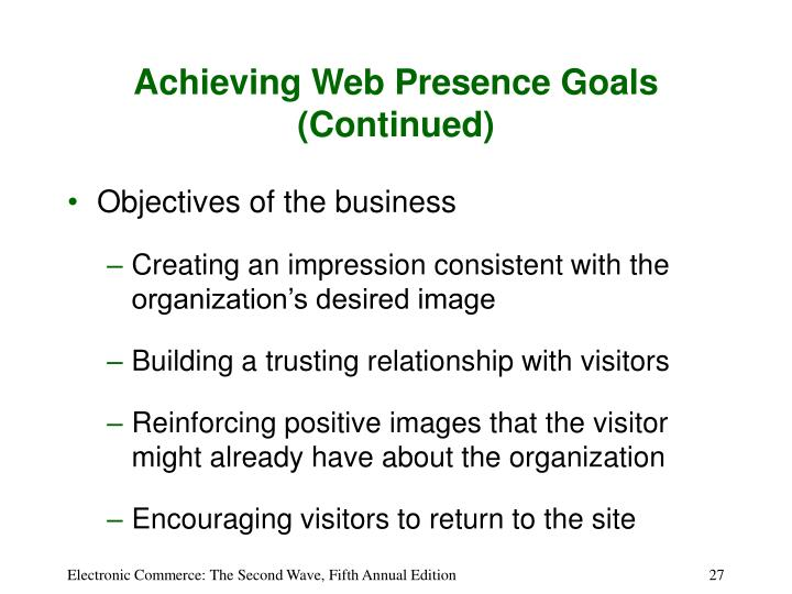 Achieving Web Presence Goals (Continued)