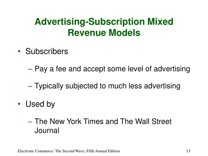 Advertising-Subscription Mixed Revenue Models