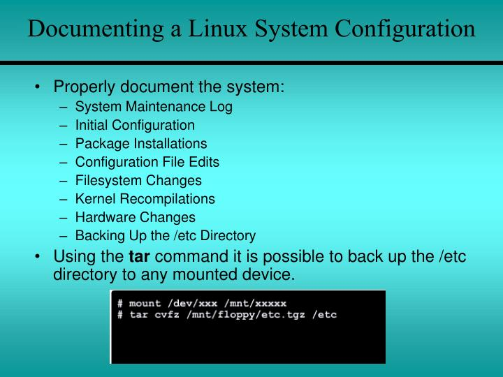 Documenting a Linux System Configuration