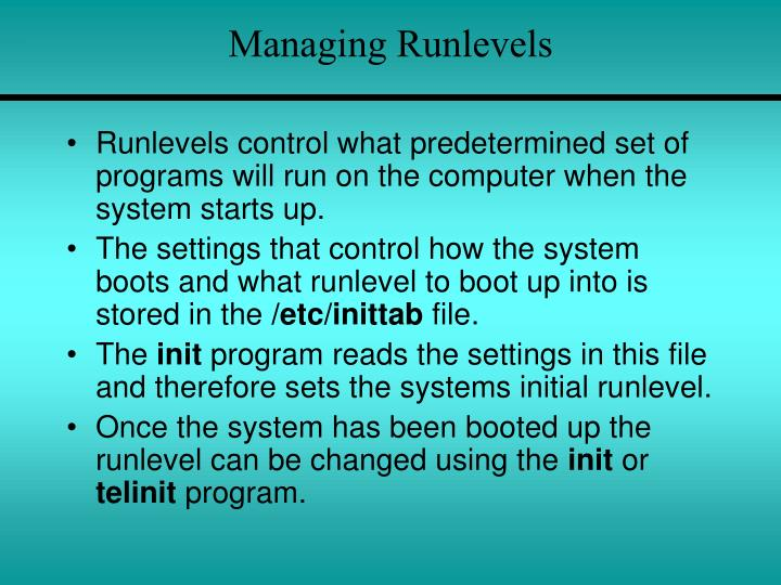 Managing Runlevels