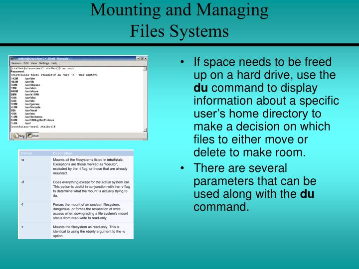 Mounting and Managing