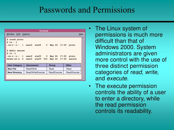 Passwords and Permissions