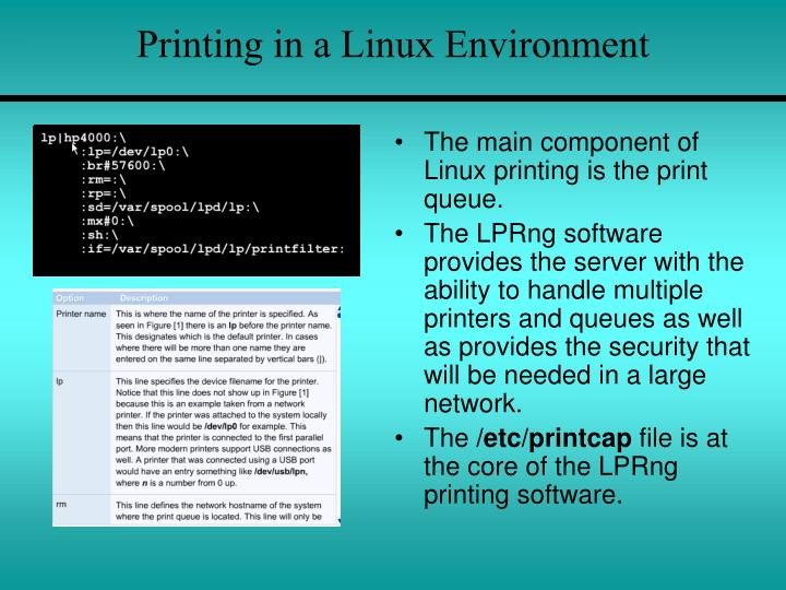 Printing in a Linux Environment