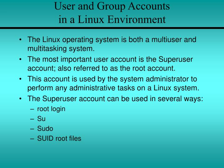 User and Group Accounts