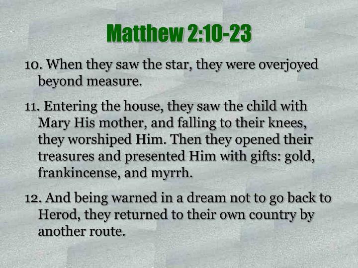 Matthew 2:10-23
