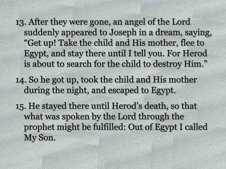 """After they were gone, an angel of the Lord suddenly appeared to Joseph in a dream, saying, """"Get up! Take the child and His mother, flee to Egypt, and stay there until I tell you. For Herod is about to search for the child to destroy Him."""""""