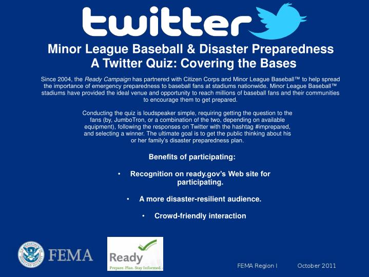 Minor League Baseball & Disaster Preparedness