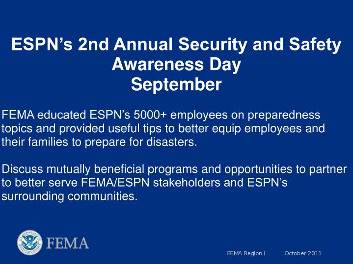 ESPN's 2nd Annual Security and Safety Awareness Day