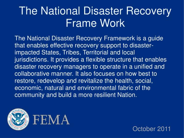 The National Disaster Recovery