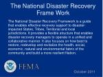 the national disaster recovery frame work