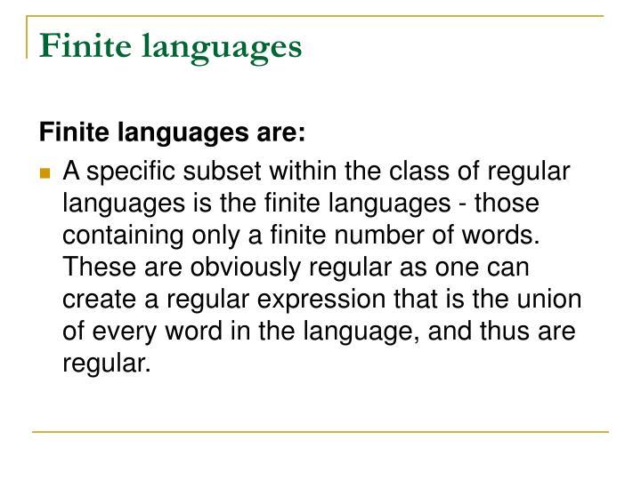 Finite languages