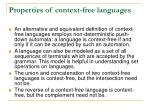 properties of context free languages