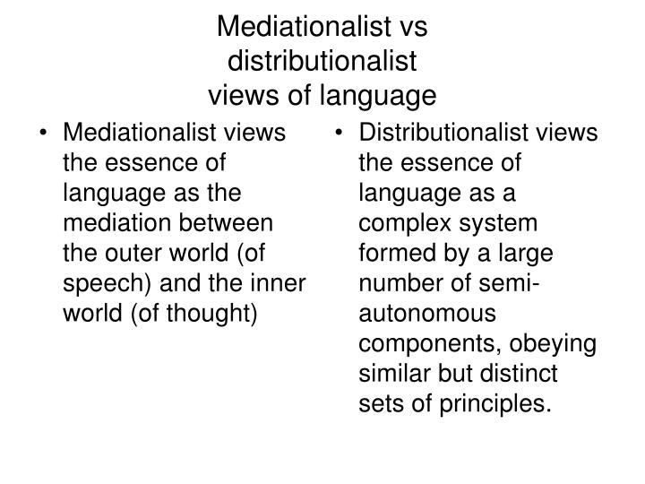 Mediationalist views the essence of language as the mediation between the outer world (of speech) and the inner world (of thought)
