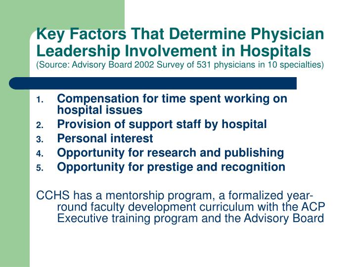 Key Factors That Determine Physician Leadership Involvement in Hospitals