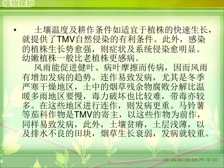 土壤温度及耕作条件如适宜于植株的快速生长,就提供了