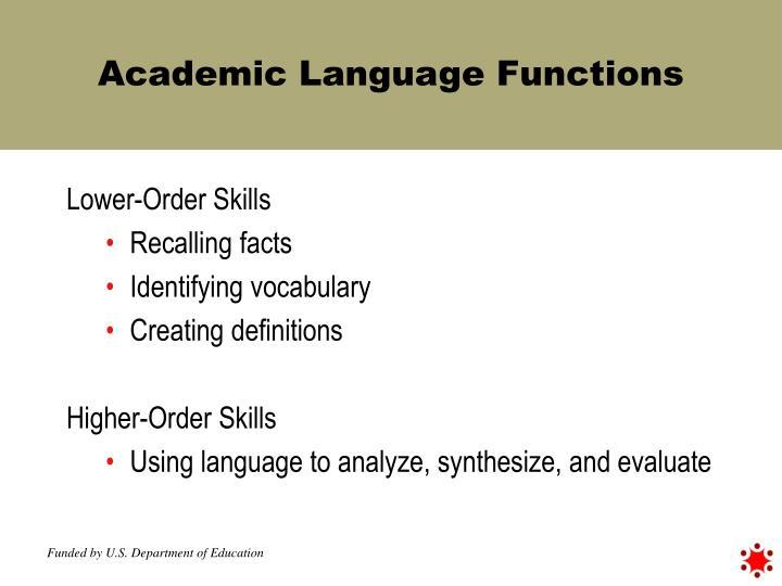 Academic Language Functions