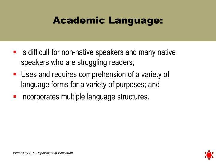 Academic Language: