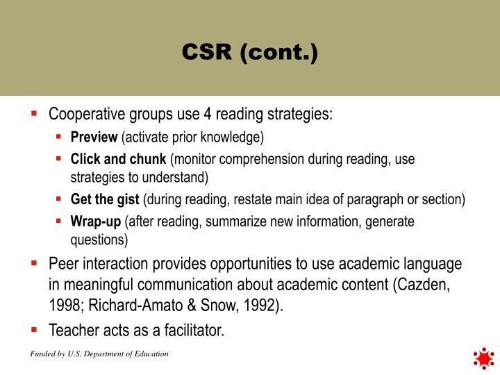 CSR (cont.)