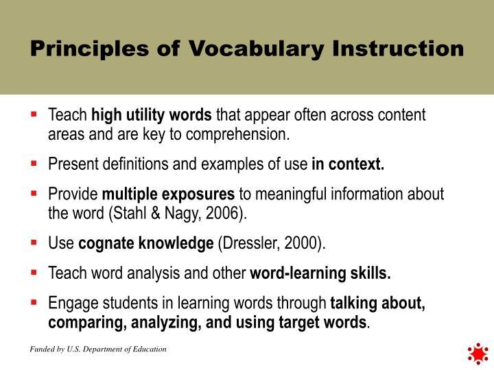 Principles of Vocabulary Instruction