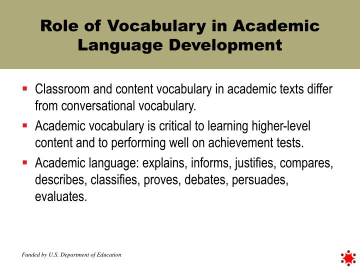 Role of Vocabulary in Academic