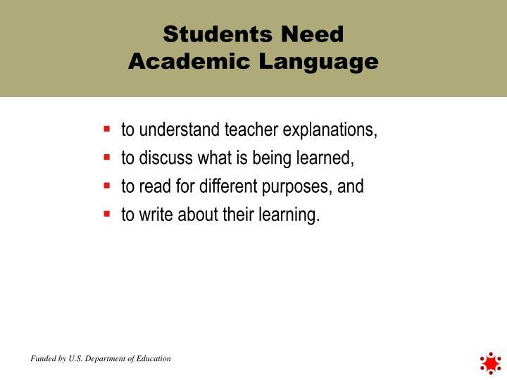 Students Need