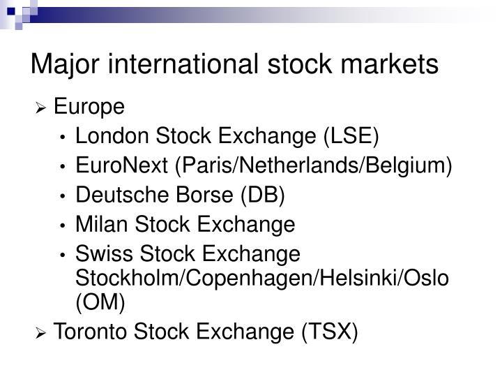 Major international stock markets