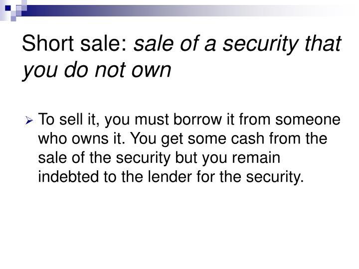 Short sale: