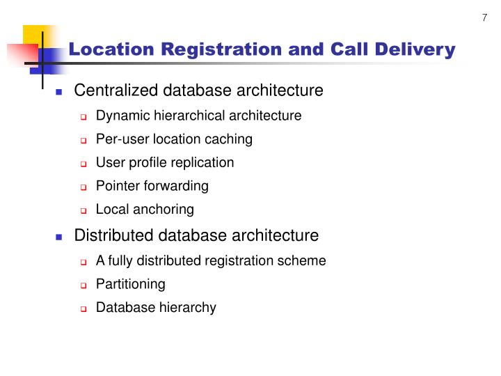 Location Registration and Call Delivery