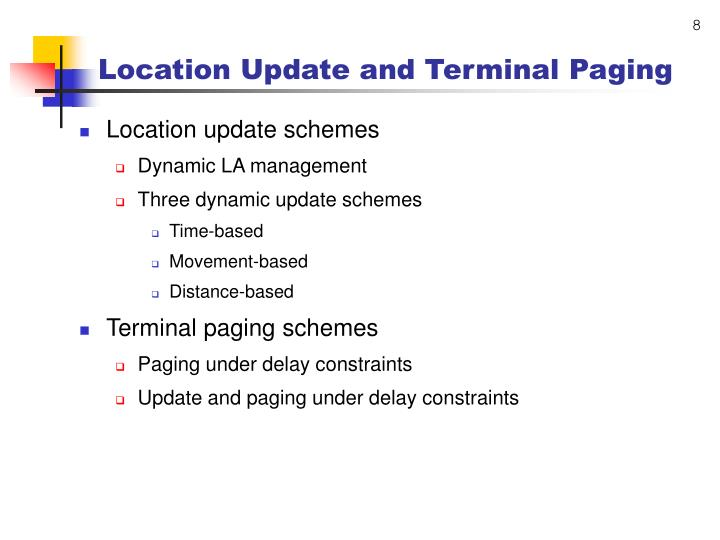 Location Update and Terminal Paging