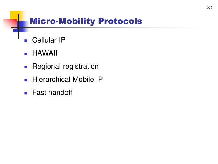 Micro-Mobility Protocols
