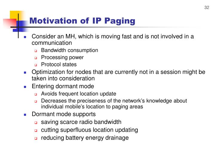 Motivation of IP Paging