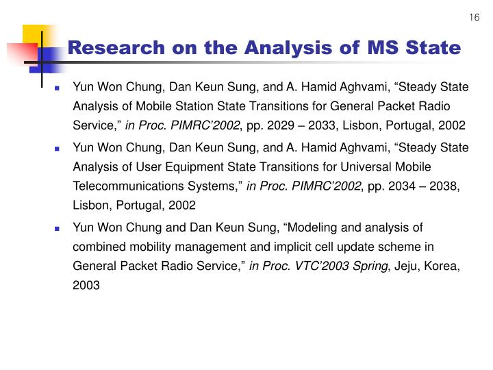 Research on the Analysis of MS State