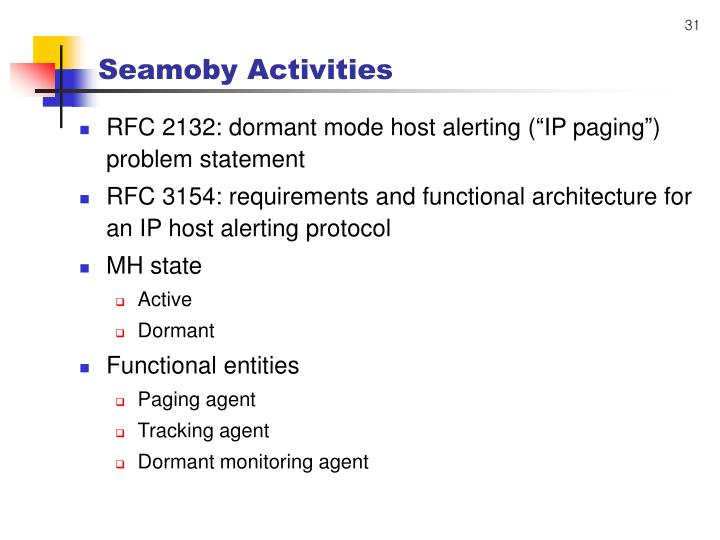 Seamoby Activities