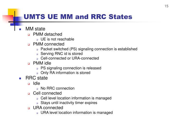 UMTS UE MM and RRC States