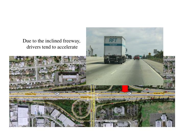 Due to the inclined freeway,