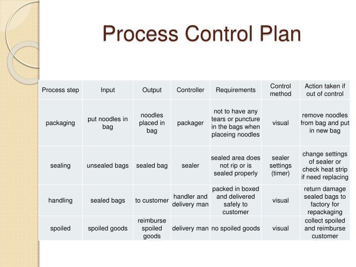 Process Control Plan