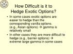 how difficult is it to hedge exotic options
