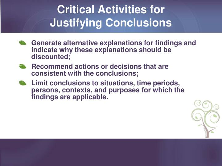 Critical Activities for