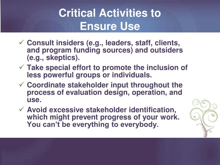 Critical Activities to