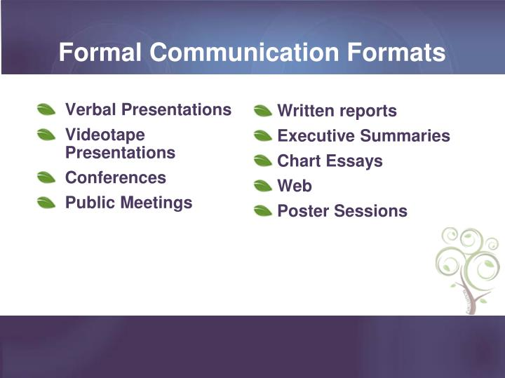 Formal Communication Formats