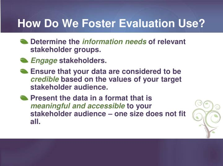 How Do We Foster Evaluation Use?