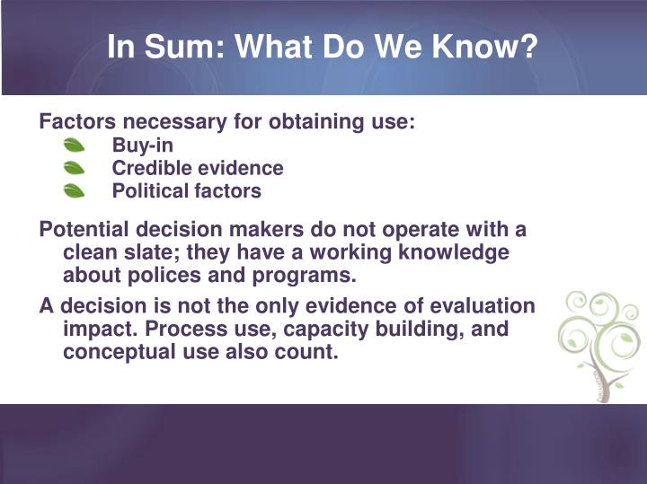 In Sum: What Do We Know?