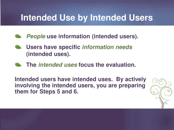 Intended Use by Intended Users