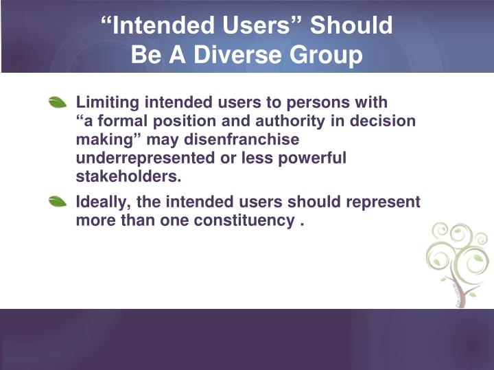 """""""Intended Users"""" Should"""