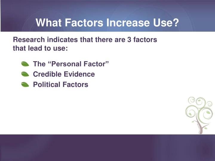 What Factors Increase Use?